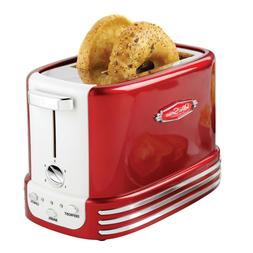 Retro Series 2-Slice Red Wide Slot Bagel Toaster with Crumb