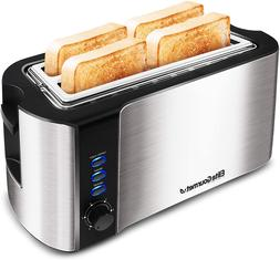 4-Slice Long Toaster 6 Toasting Levels & Extra Wide Slots fo