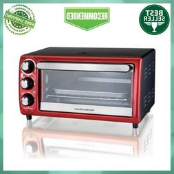 Hamilton Beach 4-Slice Red Toaster Oven with 5 Cooking Setti