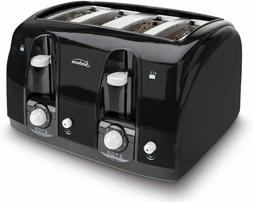 Professional 4-Slice Toaster Stainless Steel Black Bagel Toa