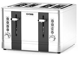BREVO 4-Slice 1500W Toaster Extra Wide Slot for Bagel Bread