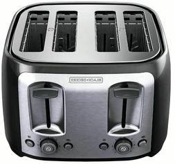 4-Slice Toaster with Extra-Wide Slots, Black/Silver, BLACK+D