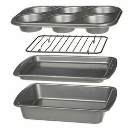 4 Piece Bakeware Set for Toaster Oven Muffin Cookie Cake Pan