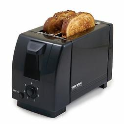 Black Compact 2 Slice Toaster - Bread Slice Bagel Buns Waffl