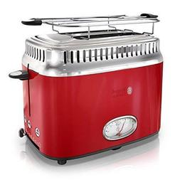 Classic 2-Slice Retro Style Toaster, Red & Stainless Steel 3