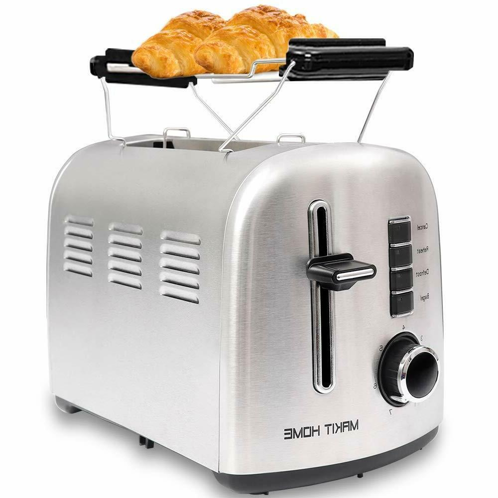 2 Slice Compact Toaster Stainless Steel Extra Slot Bread wit