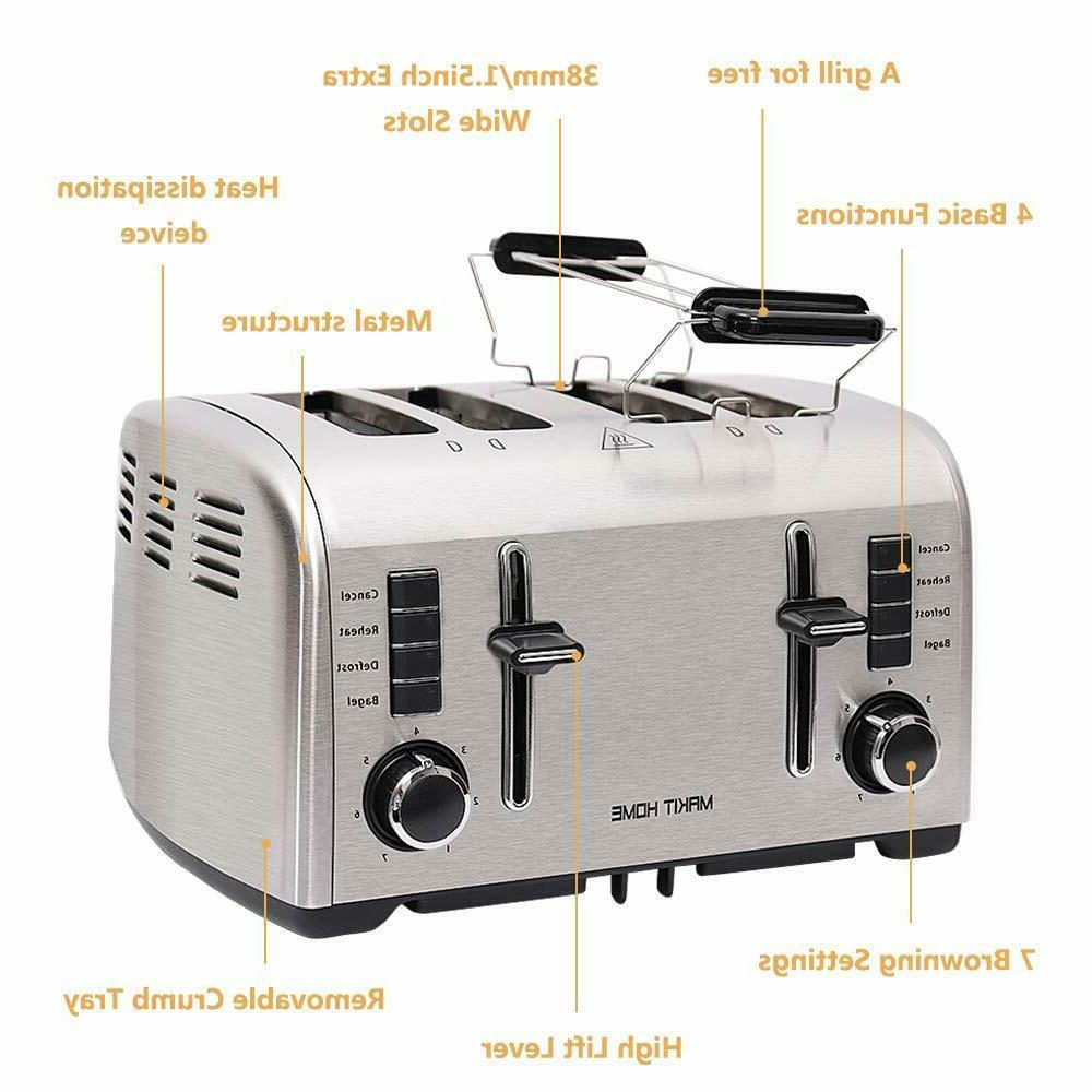 2 4 Bread Toaster Extra Wide w/ Manual Lift