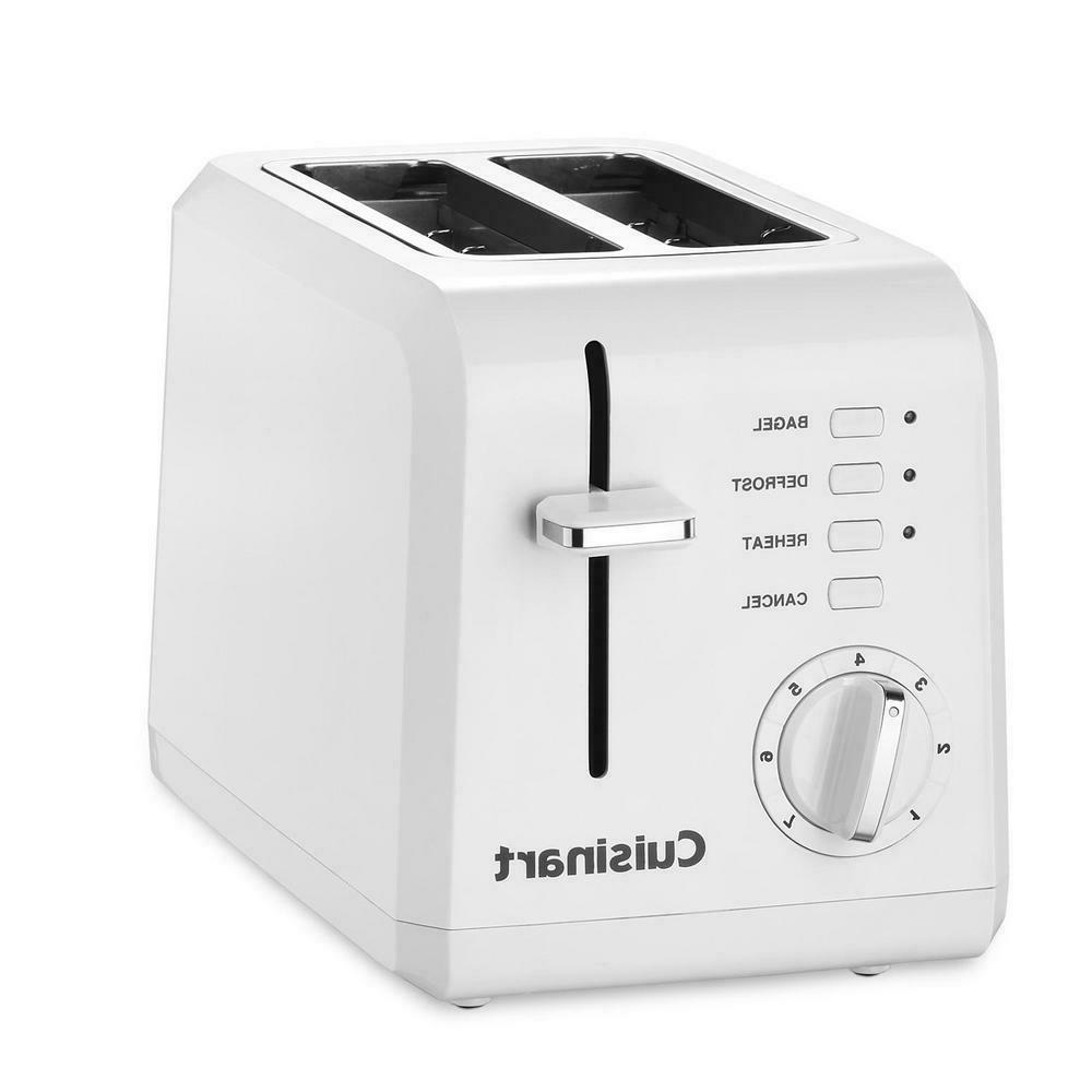 2 Slice Compact White Wide Slot Toaster with Crumb Tray
