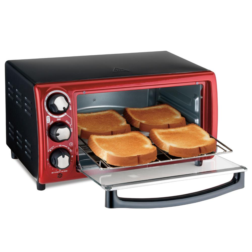 Hamilton Beach 4-Slice Red Toaster Oven Cooking Model