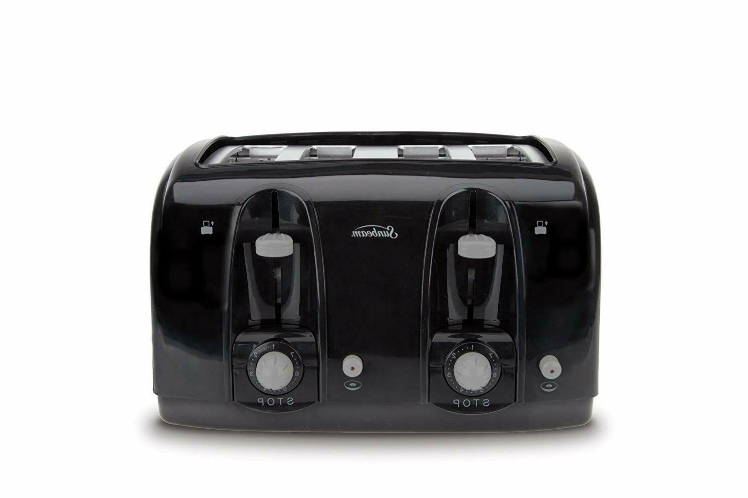 Sunbeam Wide Slot 4-Slice Toaster, Black