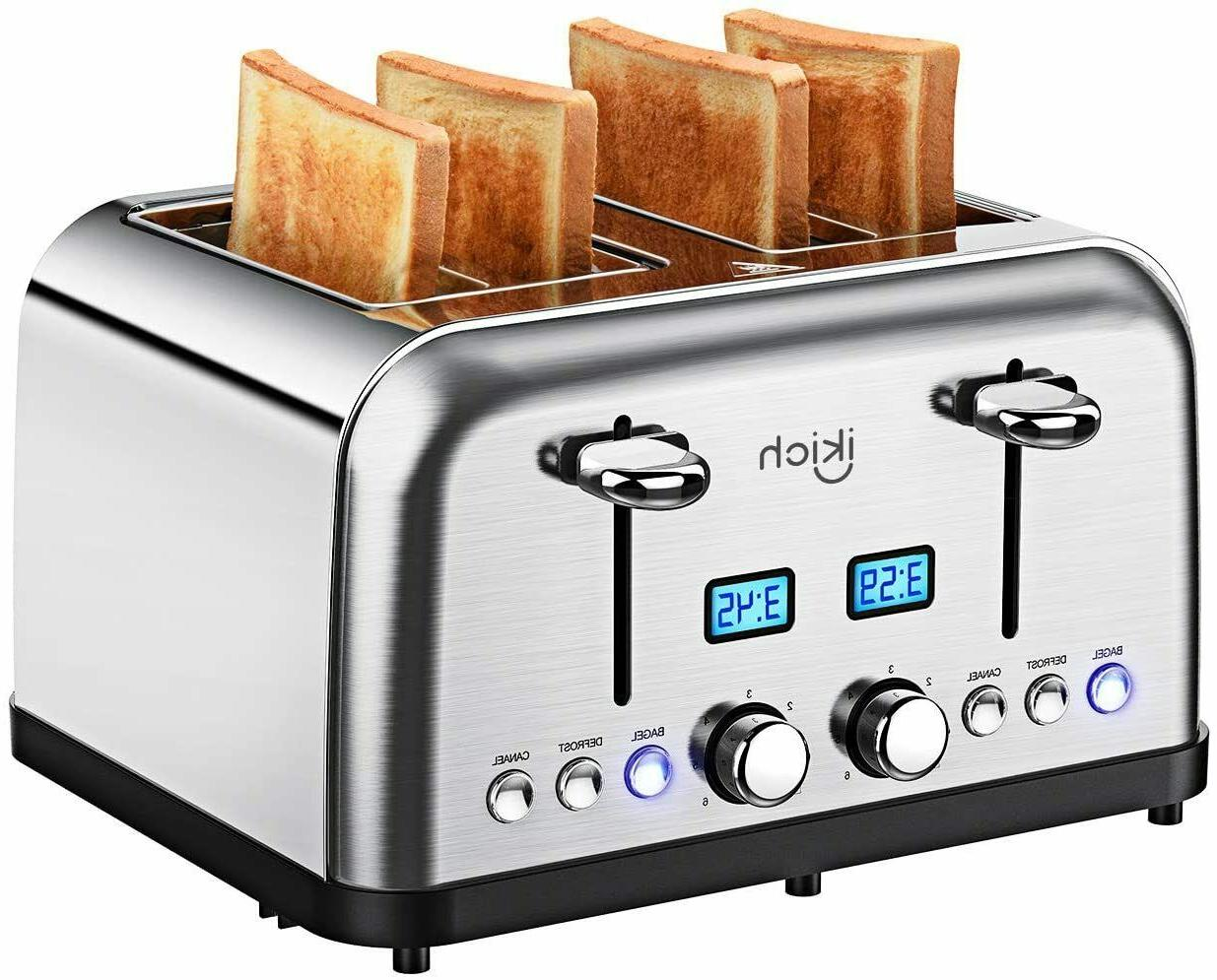 4 slice toaster stainless steel digital countdown