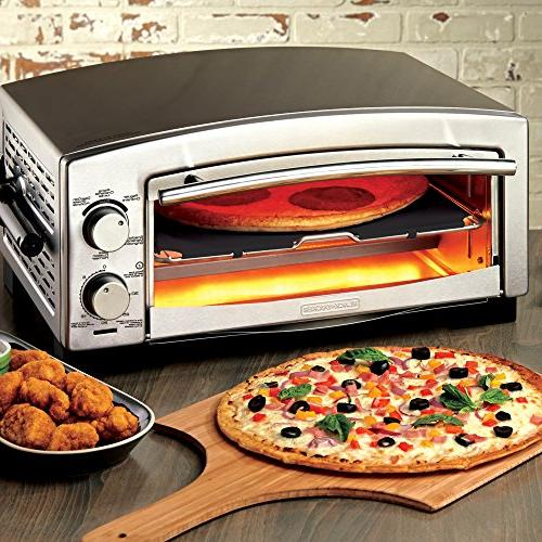 BLACK+DECKER 5-Minute Pizza Oven Snack Maker, Toaster Stainless Steel, Silver