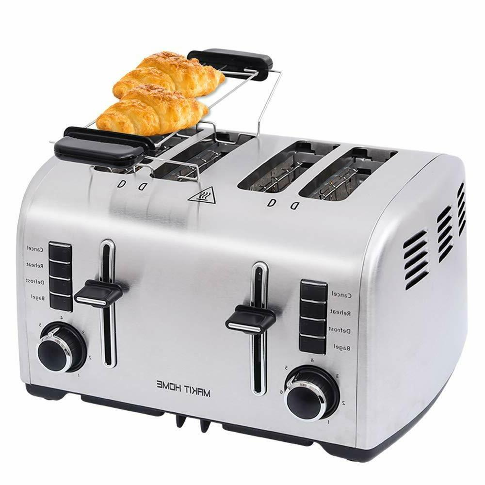 compact toaster stainless steel extra wide slot