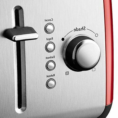KitchenAid Kmt222er 2 Slice Red Steel Toaster with LCD