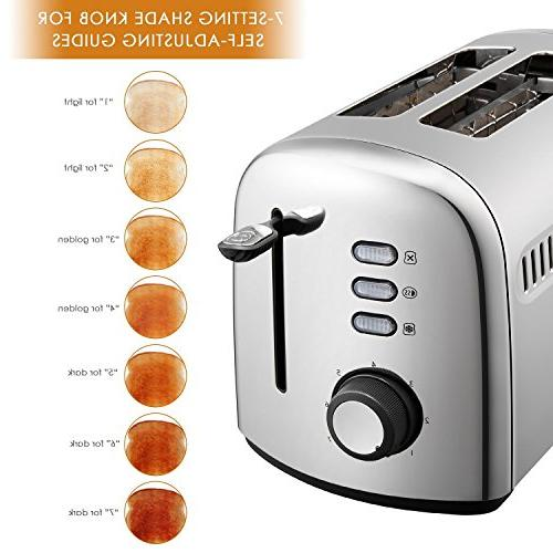 Toaster, Aicok Stainless Steel Toaster Bagel, Defrost, Extra-Wide Slots, Control,