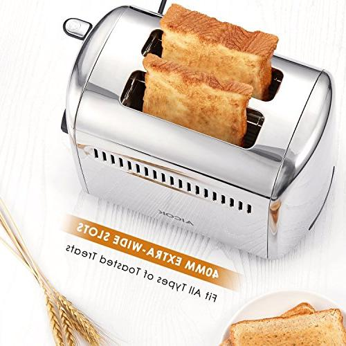 Toaster, 2 Slice Stainless Bagel, Cancel Extra-Wide Control, 850W, Silver