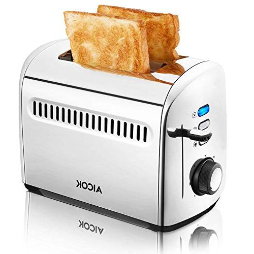 Toaster, Aicok Stainless Steel Toaster with Bagel, Cancel Extra-Wide Slots, 7 Browning Control, 850W,