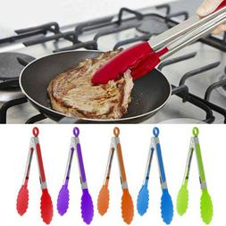 Silicone Food Tongs Salad Serving BBQ Bread Clip Utensil Kit