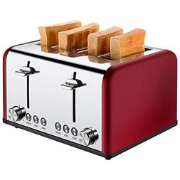 Toaster 4 Slice, CUSIBOX Stainless Steel Toaster with BAGEL/