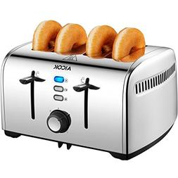 Toaster, Aicok 4 Slice Toaster, Stainless Steel Toaster with