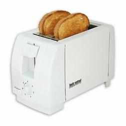 White Compact 2 Slice Toaster - Bread Slice Bagel Buns Waffl